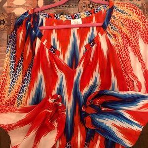 Parker 100% silk geometric long sleeve blouse